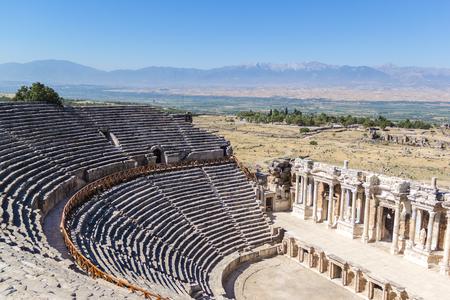 hierapolis: Amphitheater in ancient Hierapolis, Pamukkale, Turkey