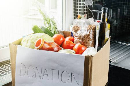 food donation box on the kitchen table