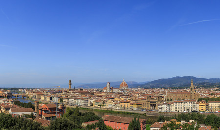 michelangelo: Panorama of Florences historic center from the observation platform on the Piazzale Michelangelo Stock Photo