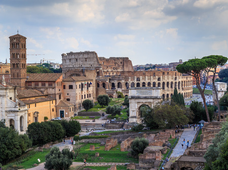 Architectural monuments of the Roman Forum in Italy, a cloudy summer day Stock Photo