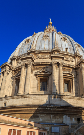 The dome of St. Peters in Rome, view from the roof of the Cathedral