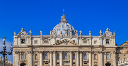 View from St. Peters Square in Rome on the facade of the cathedral, sunny day