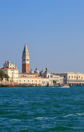 fasade: View of St. Marks Square and the Doges Palace with the Giudecca Canal in Venice Stock Photo