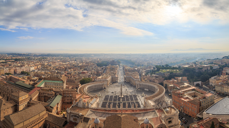 View of St. Peters Square, the street Conciliazione and Rome from the dome of the cathedral, panorama