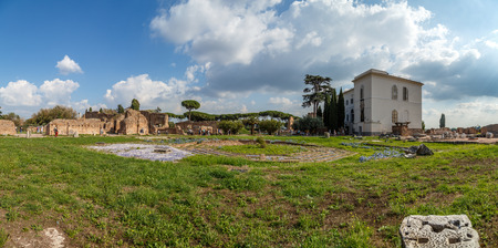 spqr: Rome Palatine Hill, Flavia House panorama in summer day