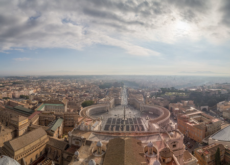 st peter s square: View of St. Peters Square and Rome from the dome of the cathedral, panorama