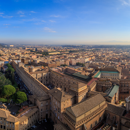 A view of the Sistine Chapel and the Vatican in Rome from the dome of St. Peter, sunny morning Stock Photo