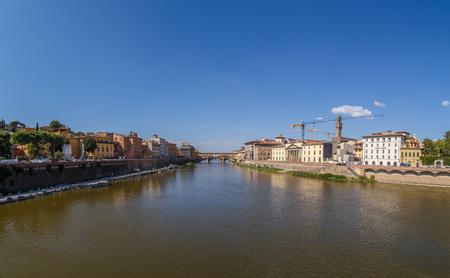 View from the Bridge Alle Grazie Bridge at Vecchio in Florence Stock Photo
