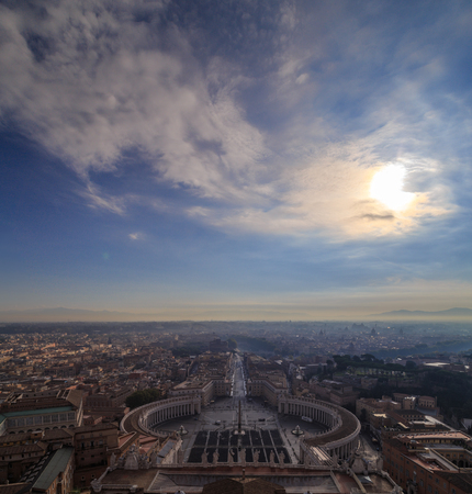 st peter s square: The sky above the eternal city of Rome, view from the dome of St. Peters