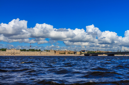 neva: Embankment Neva River in St. Petersburg, windy summer day