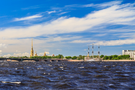 Neva River with a view of the Peter and Paul Fortress in St. Petersburg, sunny day Stock Photo