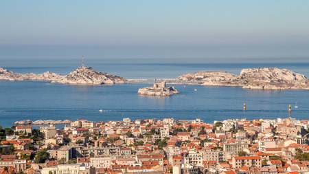 Isle dIf and the bay of Marseille in southern France from the observation platform