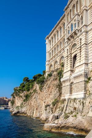 oceanographic: Oceanographic Museum of Monaco over the sea, sunny summer day Stock Photo