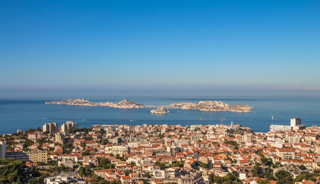 Isle dIf and the bay of Marseille in sunny day from the observation platform