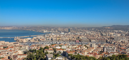 View of Marseille from the observation platform on the mountain on a sunny summer day