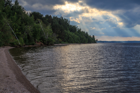 Great Russian River Volga, a summer evening, the storm is coming
