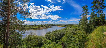 klyazma: View from the high bank of the river Klyazma, blue sky, white clouds, a hot summer day