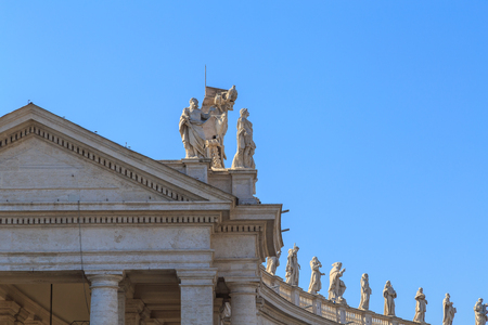 The balustrade and colonnade at the St. Peters Square in Rome, fragment