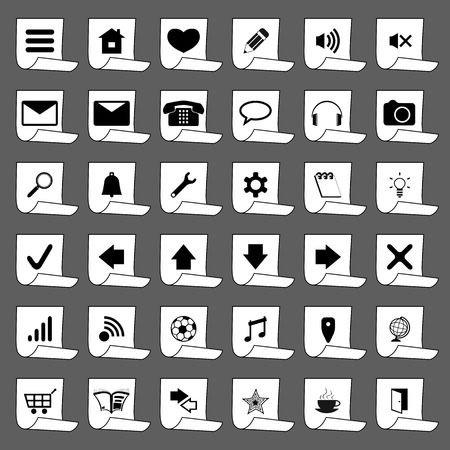 Icons on a piece of paper for a site Vector