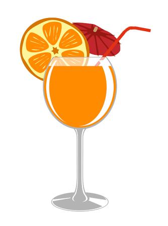 orange juice glass: A glass of fresh orange juice, umbrellal and drinking straw