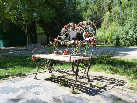 Bench for darlings in the central park the city of Volgograd photo