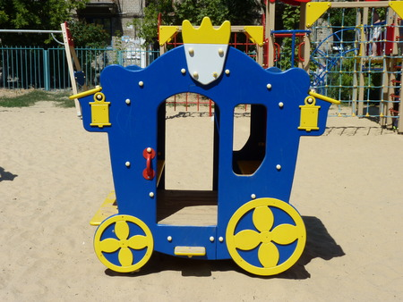 children's: Children s lodge in the form of the carriage at a playground in the city of Volgograd Stock Photo