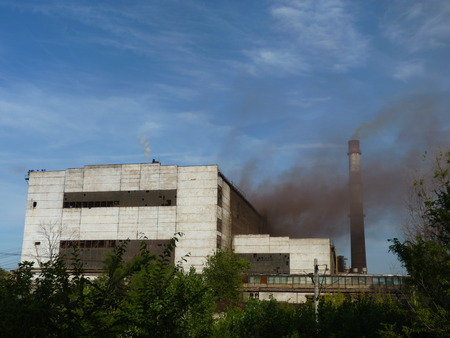 steel works: Emissions and smoke at steel works in the city of Volgograd