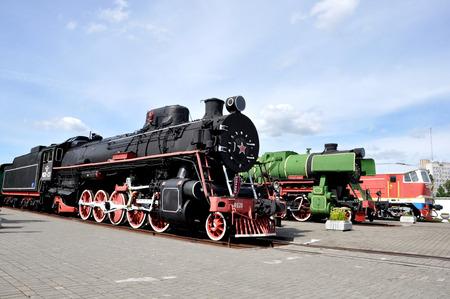 Locomotive in a museum of railway equipment in Brest, Belarus