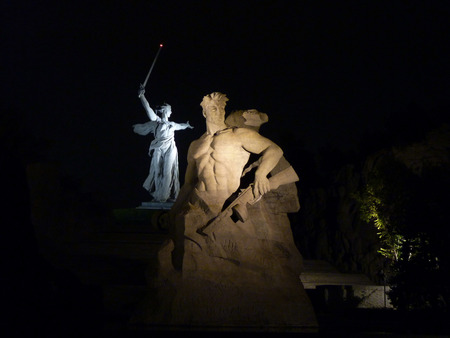 volgograd: Monument  Motherland  on Mamayev Kurgan in Volgograd in the evening Stock Photo
