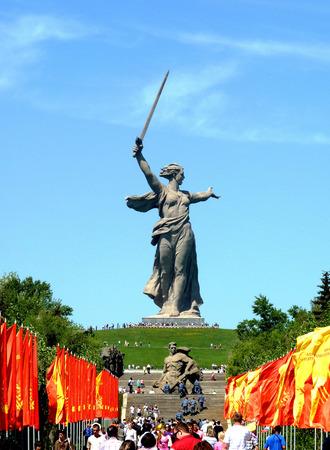 volgograd: holidays  avenue on Mamayev Kurgan in Volgograd in the Victory Day on May 9