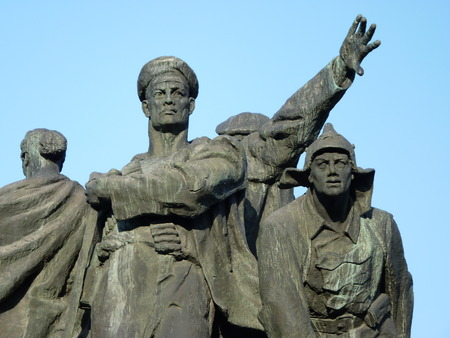 volgograd: Monument fragment  Defense of the city of Tsaritsyn  Stalingrad, Volgograd   in the city of Volgograd Stock Photo