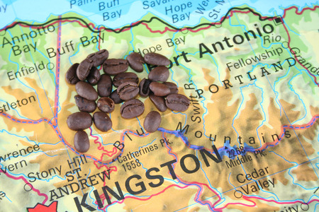 quotations: The best grade of coffee the Blue mountain on the map of Jamaica Stock Photo
