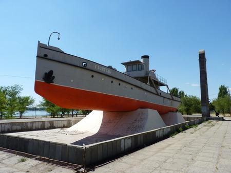 volgograd: Monument - the ship  Quencher   a vessel of the Volga military flotilla  - the participant of defense of Stalingrad  It is established in the city of Volgograd