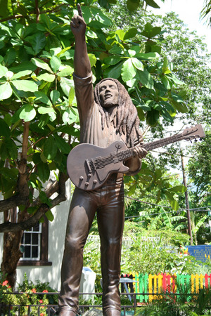 kingston: Bob Marley s sculpture in house museum in the Kingston, Jamaica