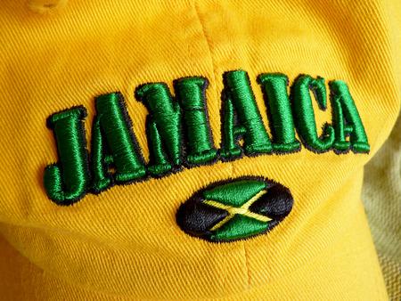 Inscription Jamaica on a baseball cap