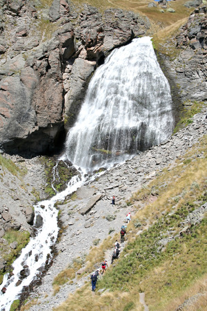 Falls Maiden braids on the Mount Elbrus, Tracking to Prielbrusye, the Caucasus, Russia photo