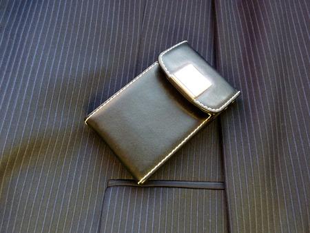 elite: Leather elite case for cards on a jacket