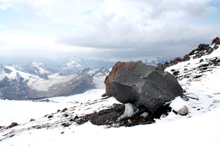 monolith: Monolith on Mount Elbrus slope