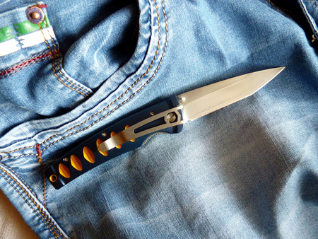 carbonaceous: Penknife with a blade from Damask steel with the clip
