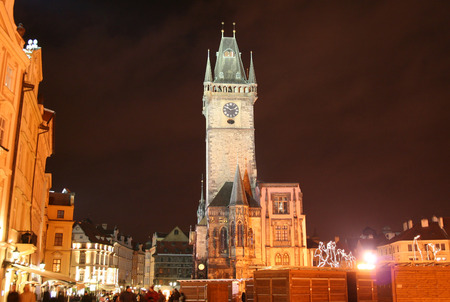 evenings: Evenings  Staromestske Square in Prague for New year with Christmas fair