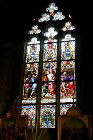 Stained-glass window in Pyotr and Pavel