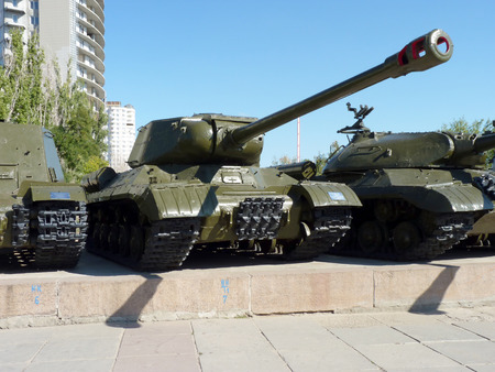 The Soviet heavy IS-2 tank of times of World War II at the Panorama of the Battle of Stalingrad