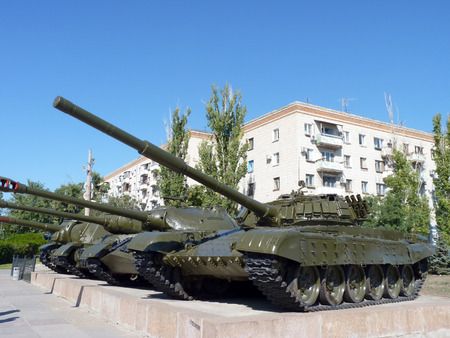 The Soviet tank on a pedestal at the Panorama of the Battle of Stalingrad in the city of Volgograd