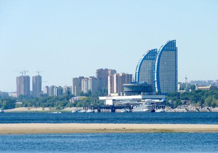 volgograd: View of the city beach of the Volga River in the city of Volgograd