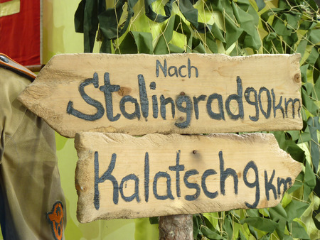 dislocation: Road signs of the German troops to Stalingrad and on the Kalatch - on - Don