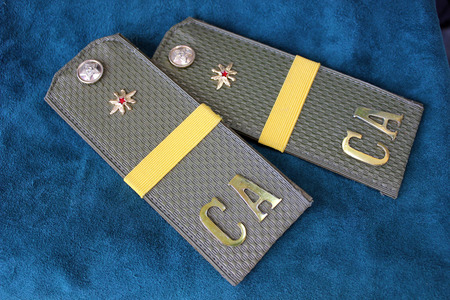 corporal: Smart shoulder straps of the soldier-operator of the Soviet army in a rank the corporal