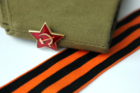 plating: Military garrison cap of the soldier Krasnoy (The Soviet army) with an army star Editorial