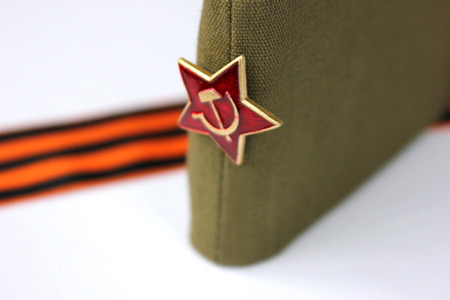 garrison: Military garrison cap of the soldier Krasnoy (The Soviet army) with an army star Editorial