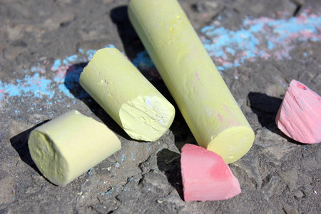 cylindrical: Cylindrical crayons for drawing on asphalt Stock Photo