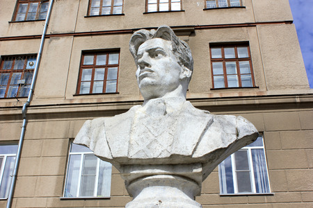 national poet: Bust of the Russian poet Mayakovsky in the yard at the building of high school in the city of Volgograd Stock Photo